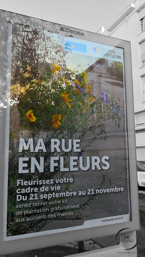 """affiche pour """"ma rue en fleurs"""" en 2020 à Nantes"""