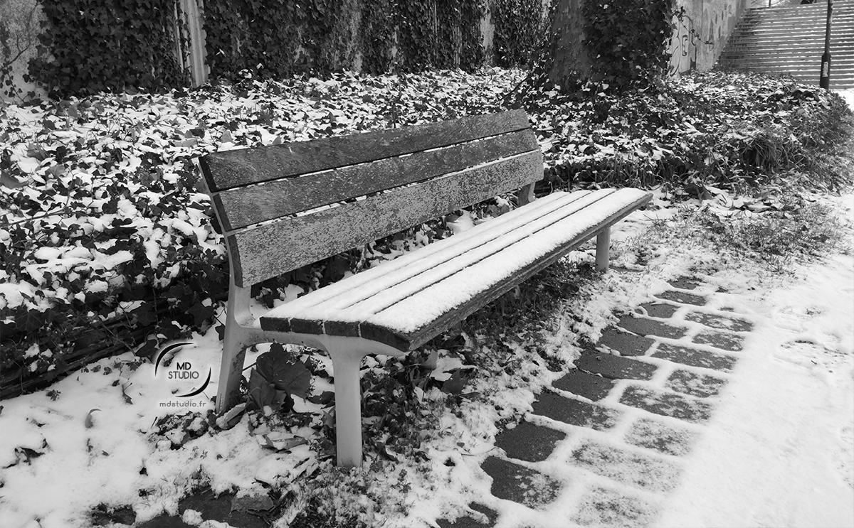 Banc attendant les promeneurs sous la neige  | photo MDstudio