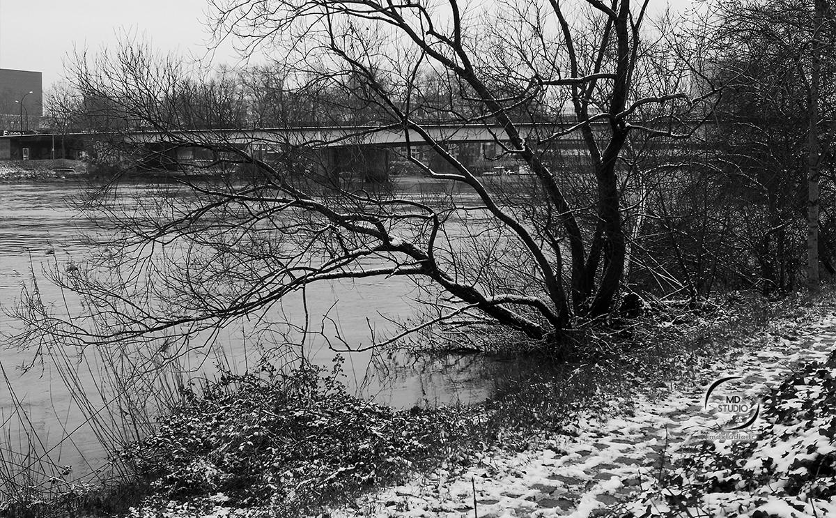 Rive naturelle et sentier pavé sous la neige | photo MDstudio